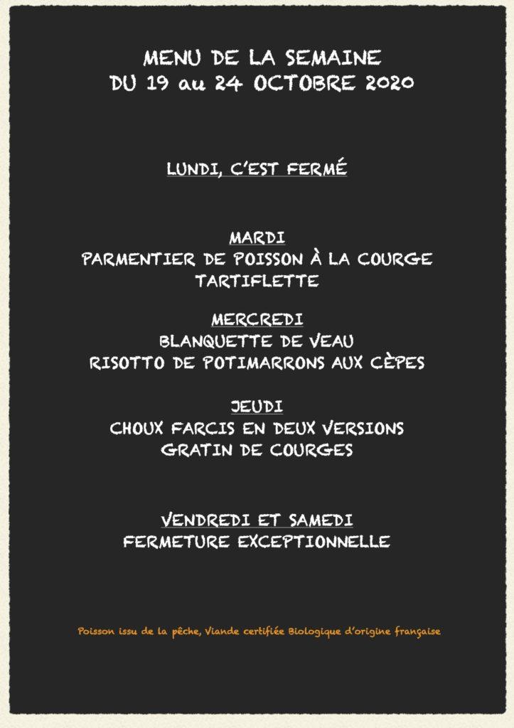 menu de la semaine